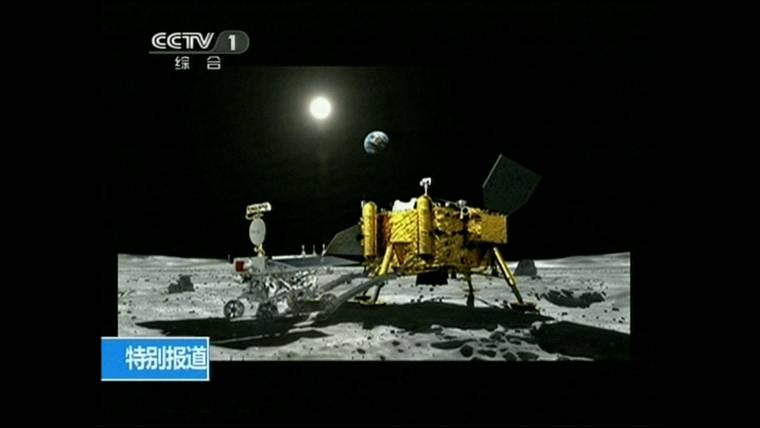 China's first moon rover lands — and starts rolling over the lunar surface