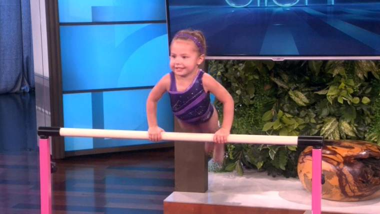 Adorable 3-year-old gymnast on 'Ellen' isn't afraid to ...