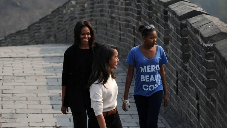 First Lady Tours China's Great Wall With Sasha and Malia